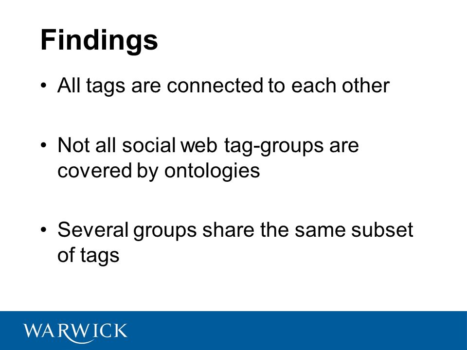 Findings All tags are connected to each other Not all social web tag-groups are covered by ontologies Several groups share the same subset of tags