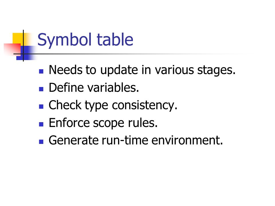 Symbol table Needs to update in various stages. Define variables.