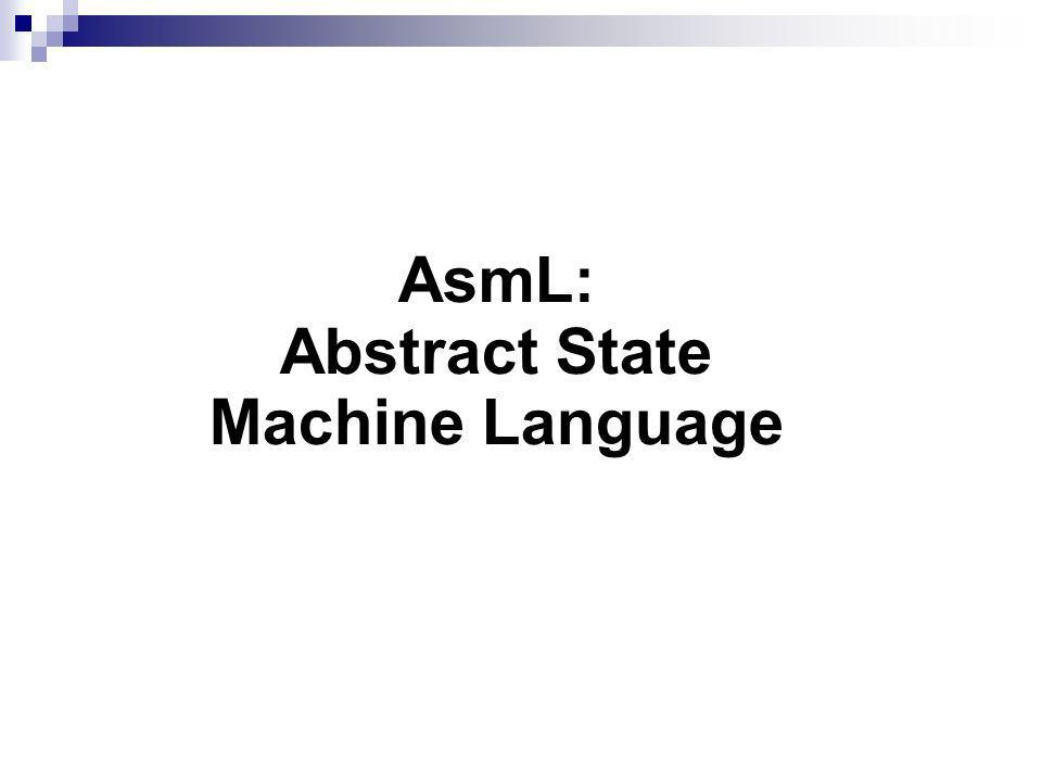 AsmL: Abstract State Machine Language