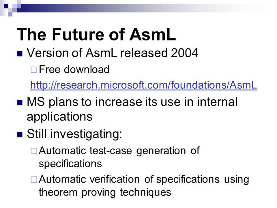The Future of AsmL Version of AsmL released 2004 Free download   MS plans to increase its use in internal applications Still investigating: Automatic test-case generation of specifications Automatic verification of specifications using theorem proving techniques
