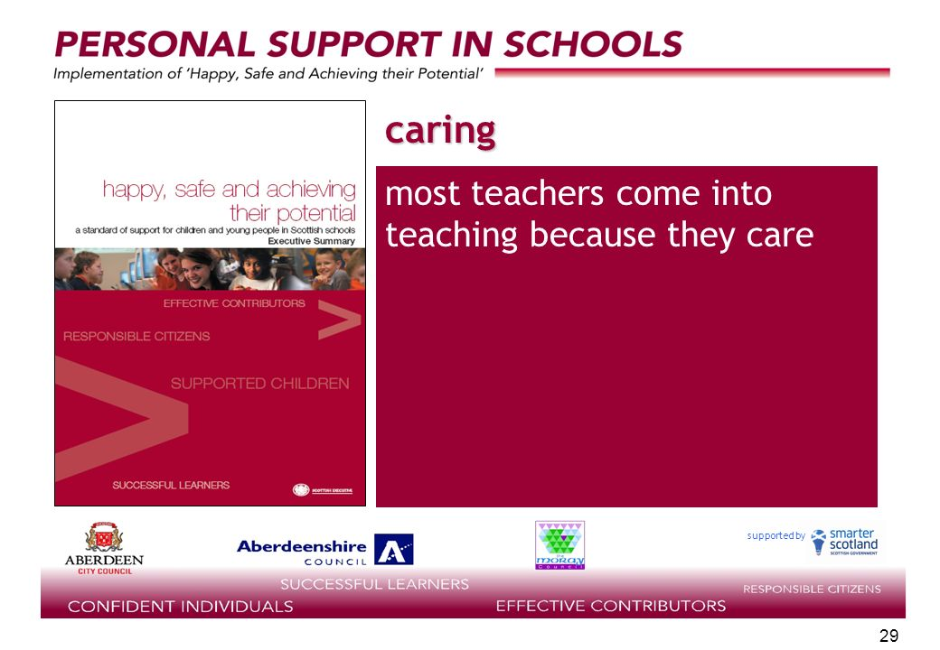 supported by 29 caring most teachers come into teaching because they care