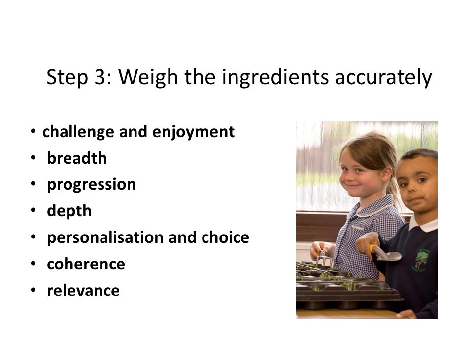 Step 3: Weigh the ingredients accurately challenge and enjoyment breadth progression depth personalisation and choice coherence relevance