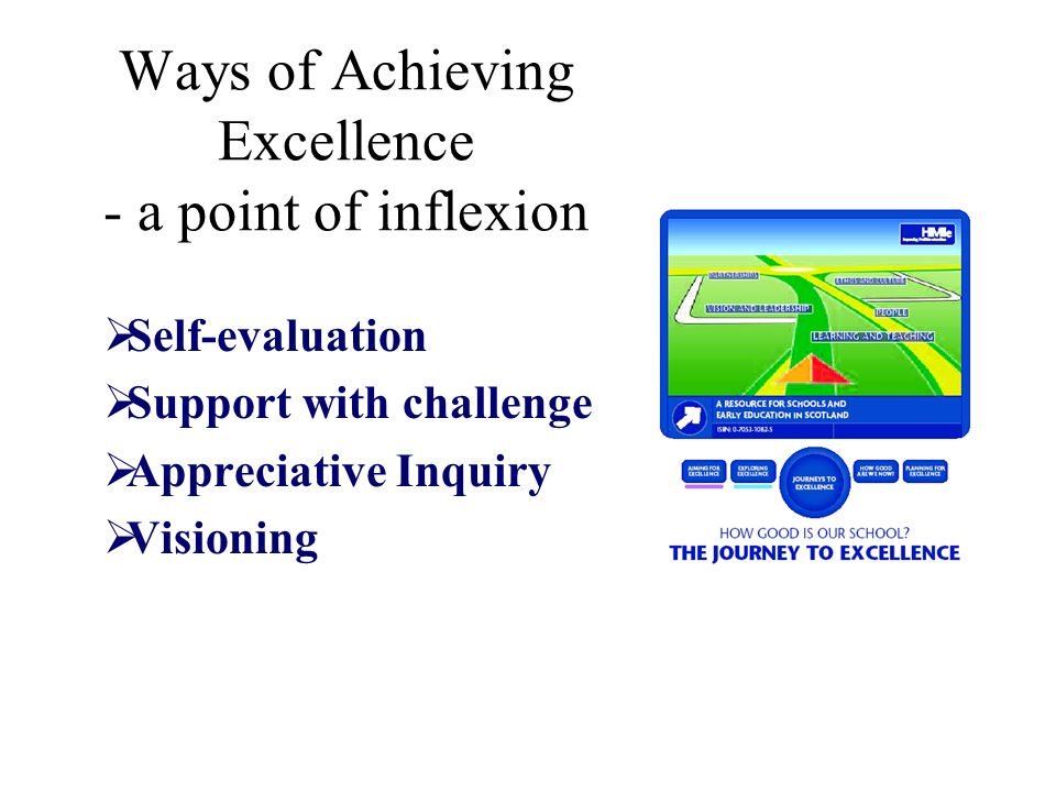 Ways of Achieving Excellence - a point of inflexion Self-evaluation Support with challenge Appreciative Inquiry Visioning
