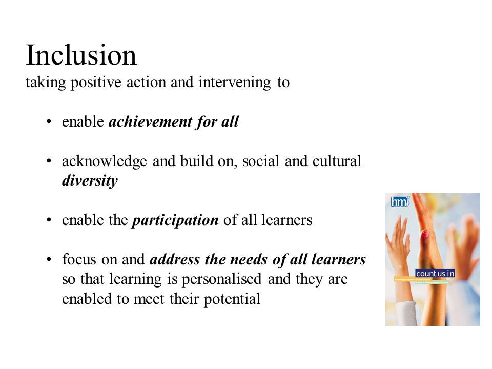 Inclusion taking positive action and intervening to enable achievement for all acknowledge and build on, social and cultural diversity enable the participation of all learners focus on and address the needs of all learners so that learning is personalised and they are enabled to meet their potential