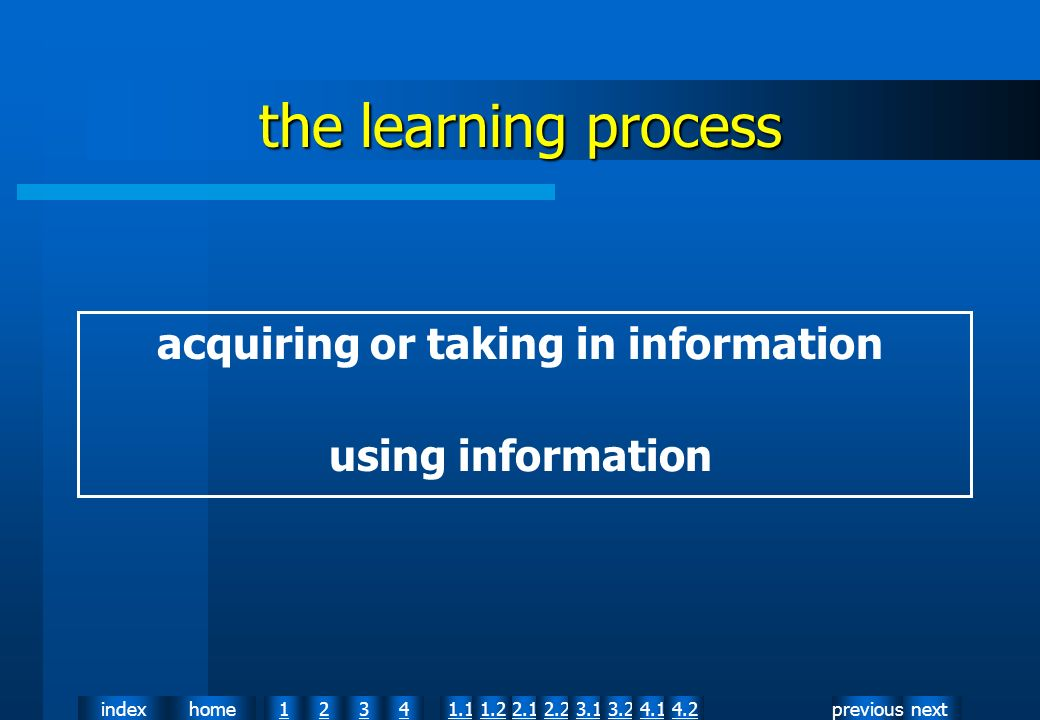 nextpreviousindexhome12341.12.11.22.23.13.24.14.2 the learning process acquiring or taking in information using information