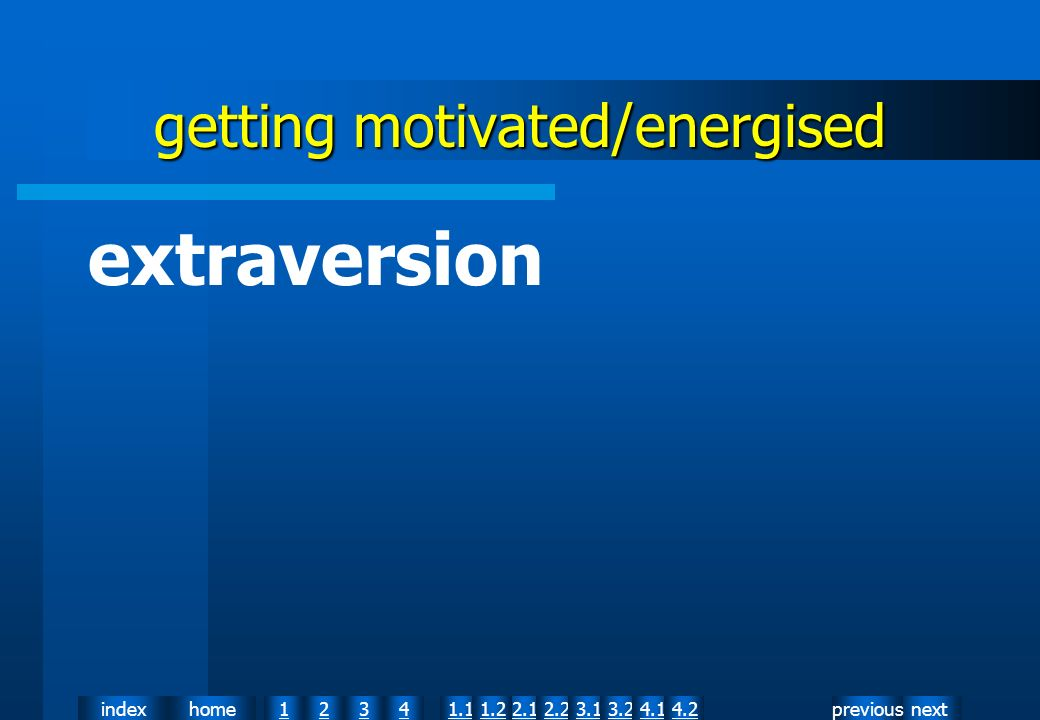 nextpreviousindexhome12341.12.11.22.23.13.24.14.2 getting motivated/energised extraversion