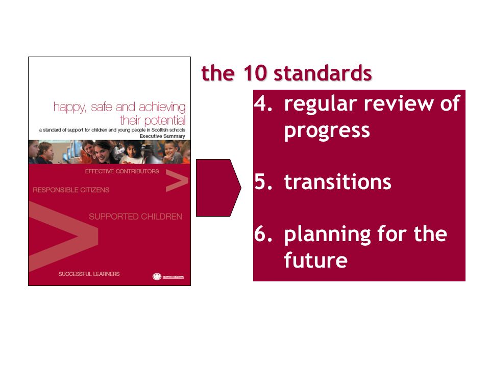 the 10 standards review of individual progress 4.regular review of progress 5.transitions 6.planning for the future