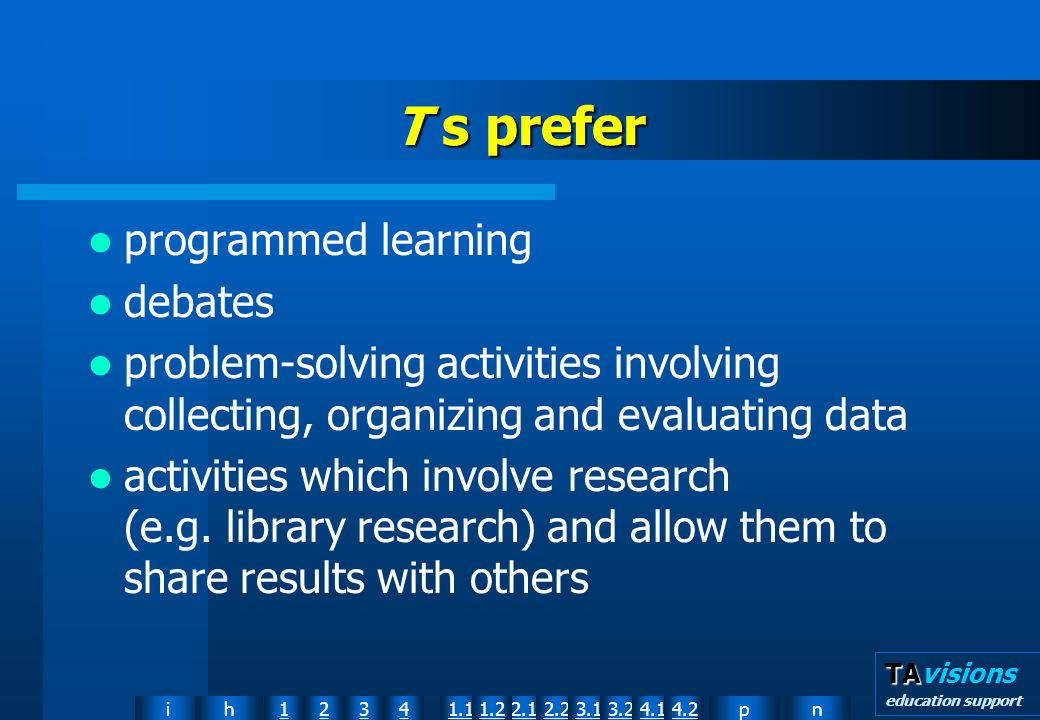 npih12341.12.11.22.23.13.24.14.2 TA TAvisions education support T s prefer programmed learning debates problem-solving activities involving collecting, organizing and evaluating data activities which involve research (e.g.