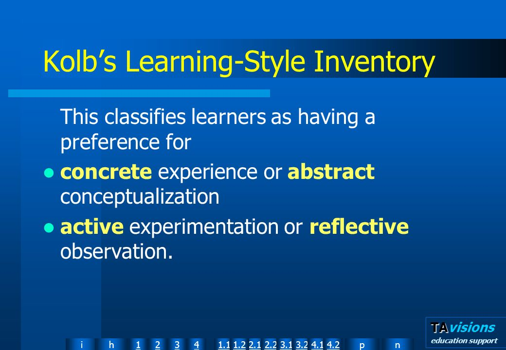 npih12341.12.11.22.23.13.24.14.2 TA TAvisions education support Kolbs Learning-Style Inventory This classifies learners as having a preference for concrete experience or abstract conceptualization active experimentation or reflective observation.