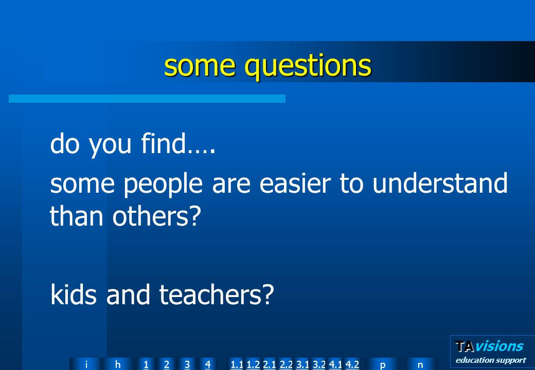 npih12341.12.11.22.23.13.24.14.2 TA TAvisions education support some questions do you find….