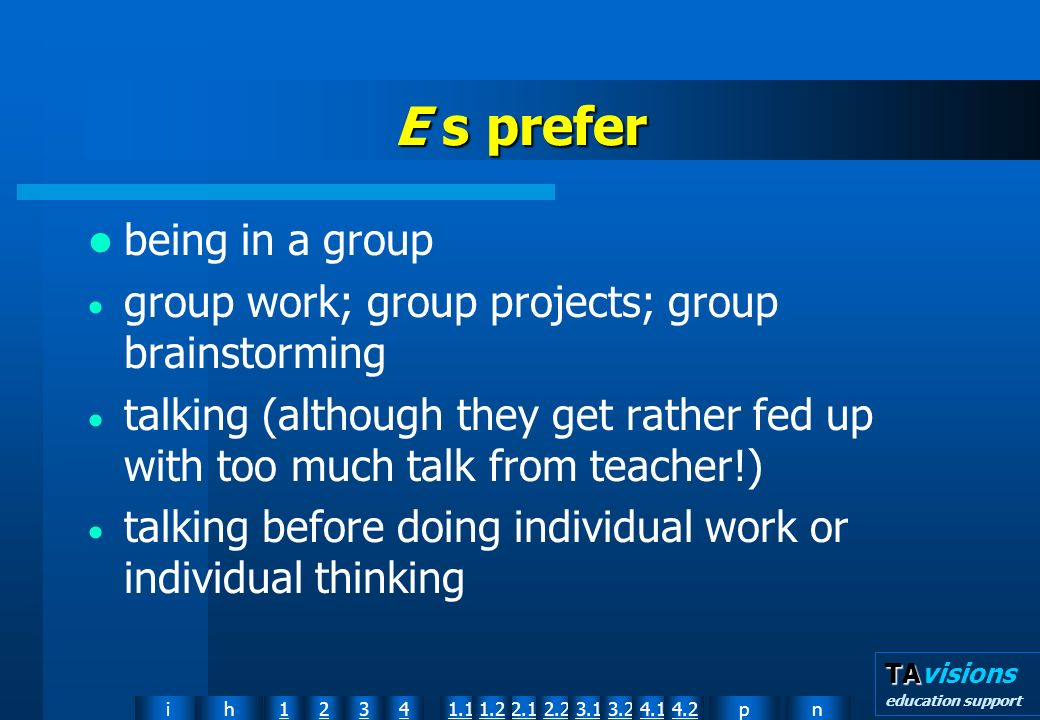 npih12341.12.11.22.23.13.24.14.2 TA TAvisions education support E s prefer being in a group group work; group projects; group brainstorming talking (although they get rather fed up with too much talk from teacher!) talking before doing individual work or individual thinking