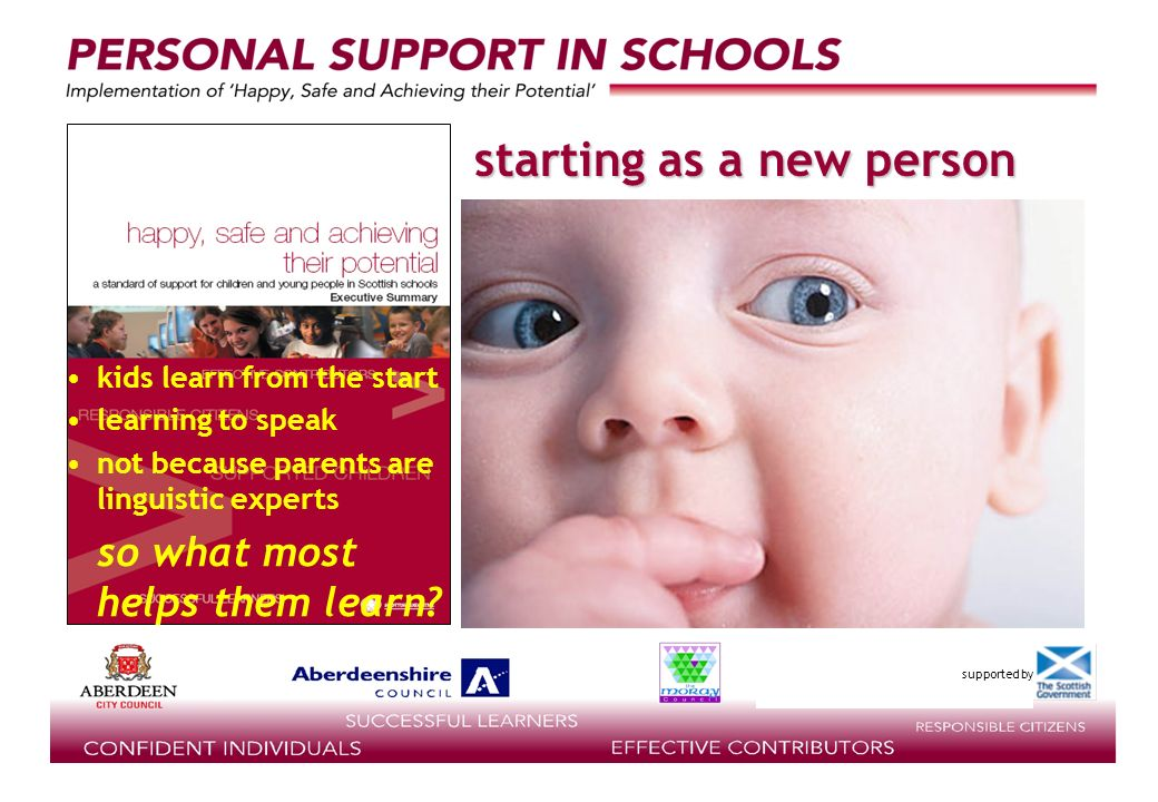 supported by starting as a new person kids learn from the start learning to speak not because parents are linguistic experts so what most helps them learn