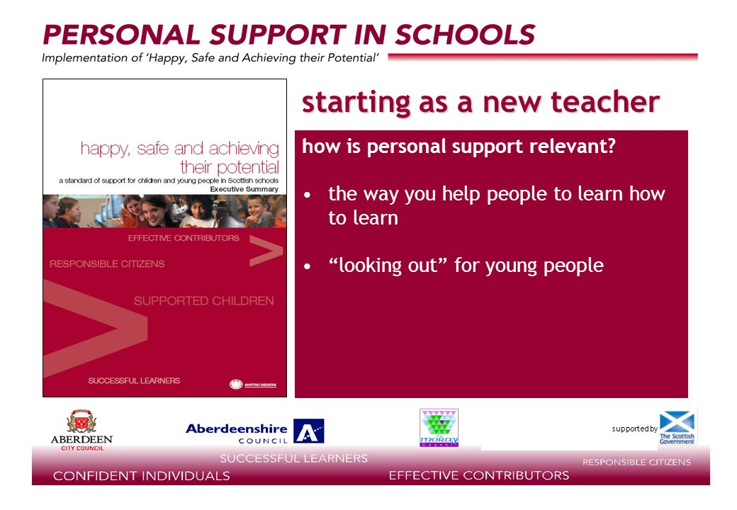 supported by starting as a new teacher how is personal support relevant.