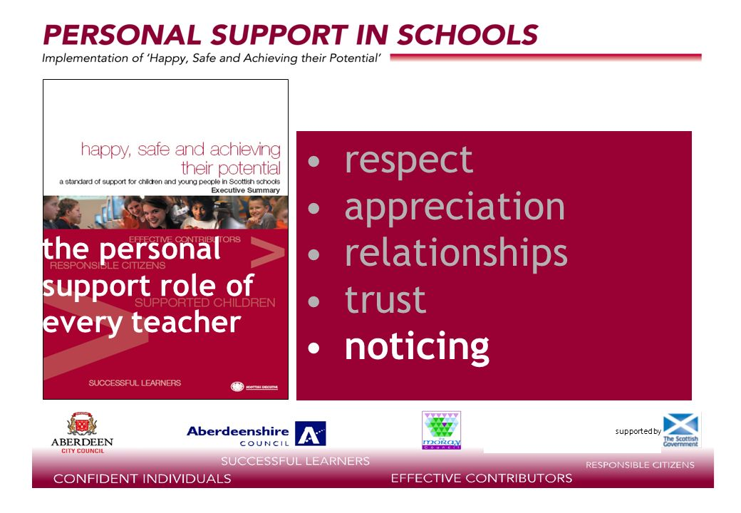 supported by respect appreciation relationships trust noticing the personal support role of every teacher