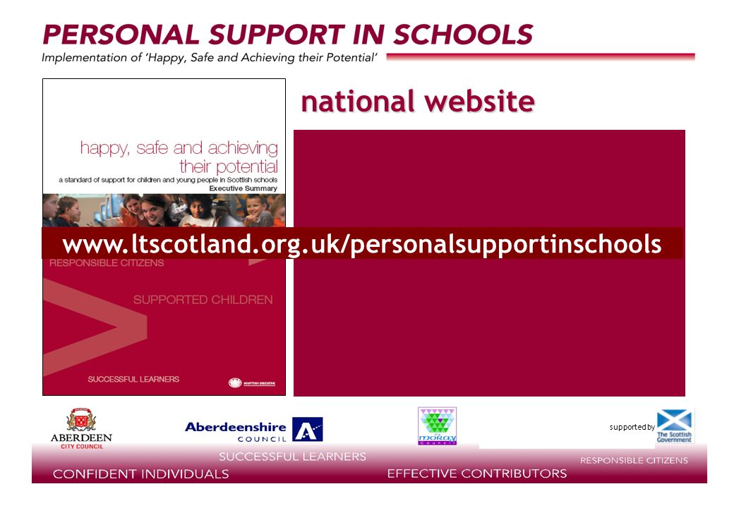 supported by national website www.ltscotland.org.uk/personalsupportinschools