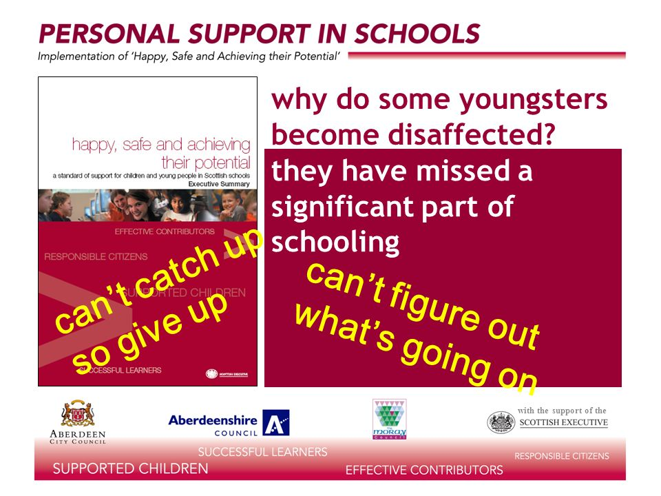 with the support of the they have missed a significant part of schooling why do some youngsters become disaffected.