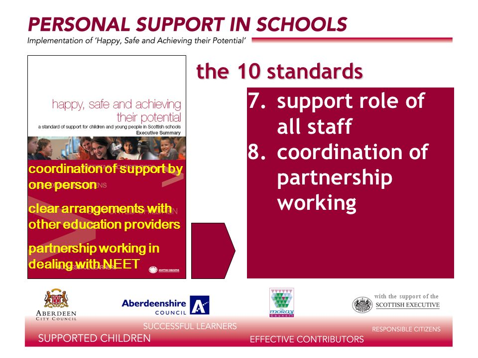 with the support of the the 10 standards access to support 7.support role of all staff 8.coordination of partnership working coordination of support by one person clear arrangements with other education providers partnership working in dealing with NEET