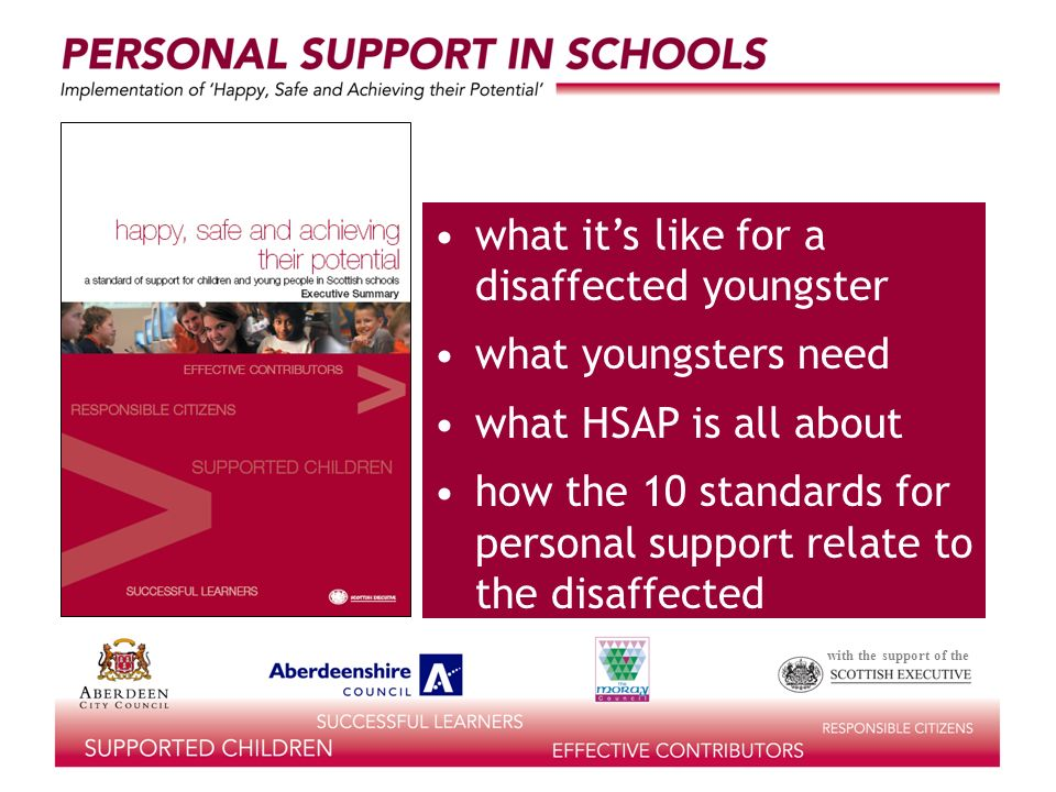 with the support of the what its like for a disaffected youngster what youngsters need what HSAP is all about how the 10 standards for personal support relate to the disaffected