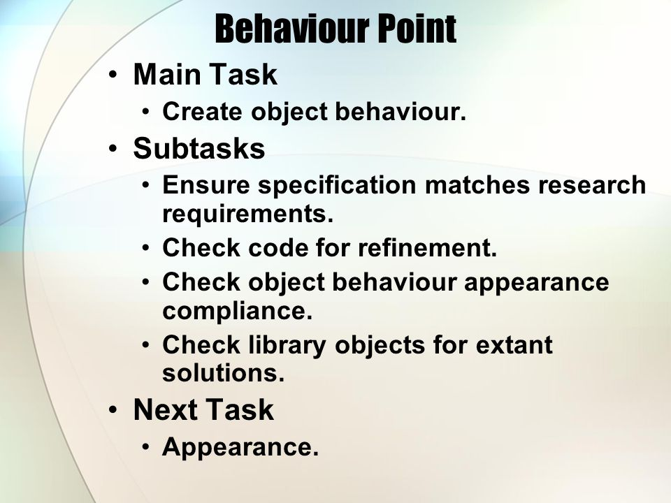 Behaviour Point Main Task Create object behaviour.