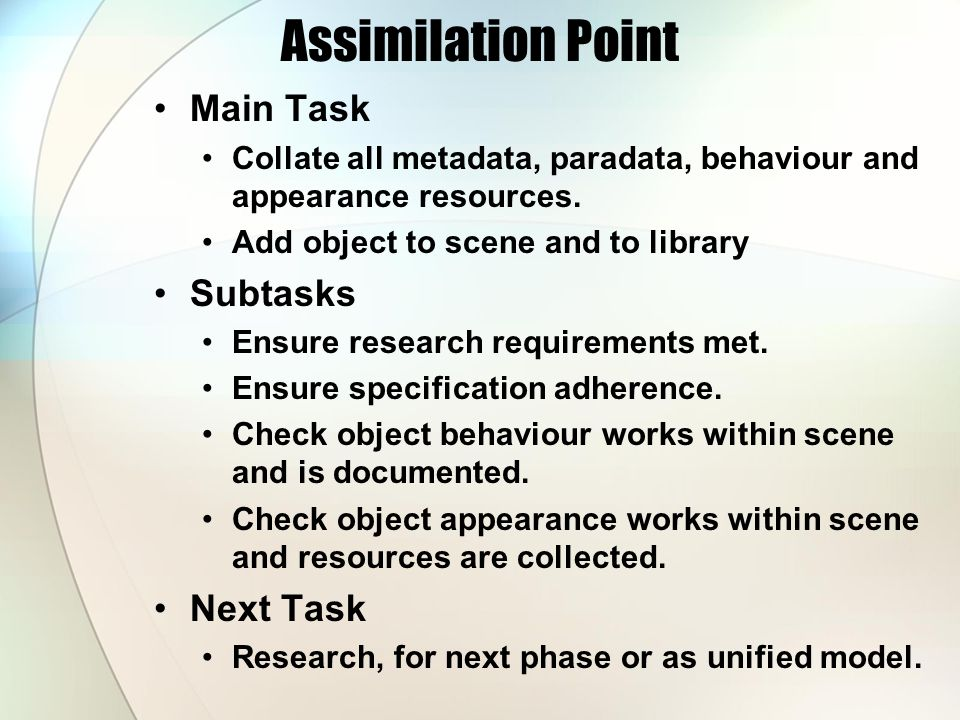 Assimilation Point Main Task Collate all metadata, paradata, behaviour and appearance resources.