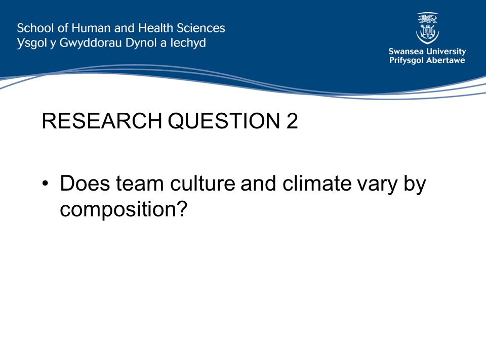 RESEARCH QUESTION 2 Does team culture and climate vary by composition