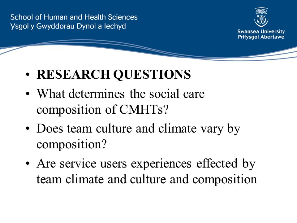 RESEARCH QUESTIONS What determines the social care composition of CMHTs.