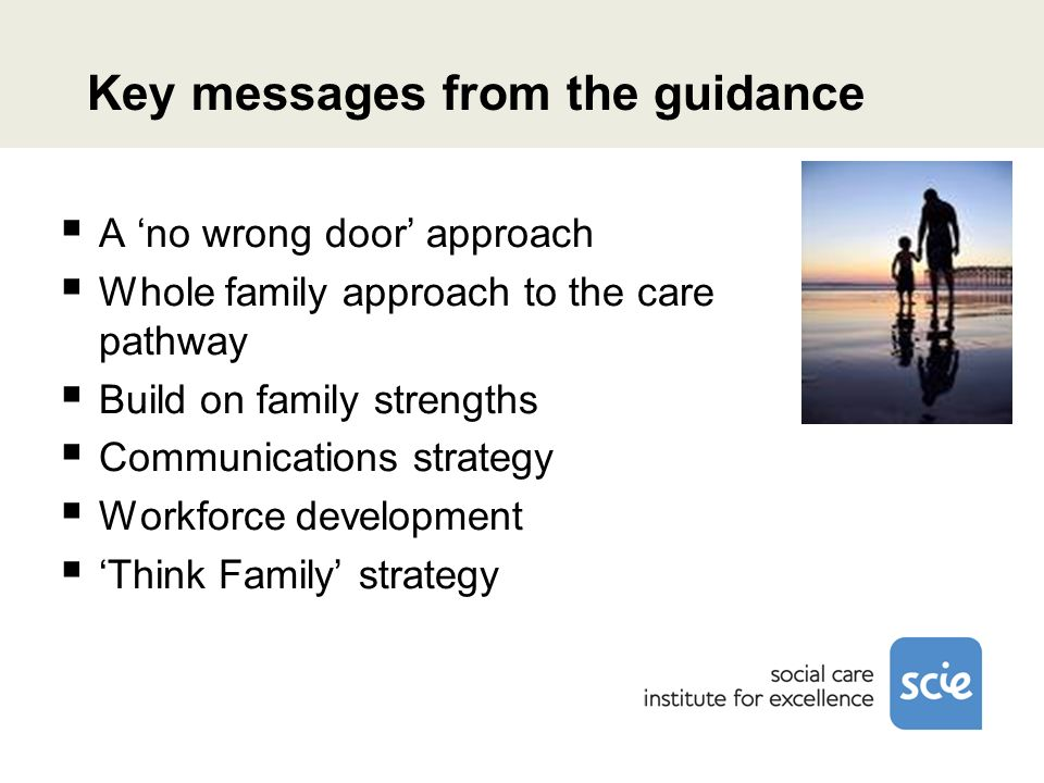 Key messages from the guidance A no wrong door approach Whole family approach to the care pathway Build on family strengths Communications strategy Workforce development Think Family strategy