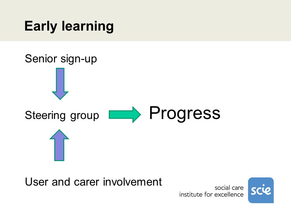 Early learning Senior sign-up Steering group Progress User and carer involvement