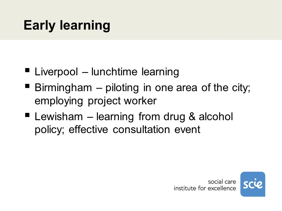 Early learning Liverpool – lunchtime learning Birmingham – piloting in one area of the city; employing project worker Lewisham – learning from drug & alcohol policy; effective consultation event