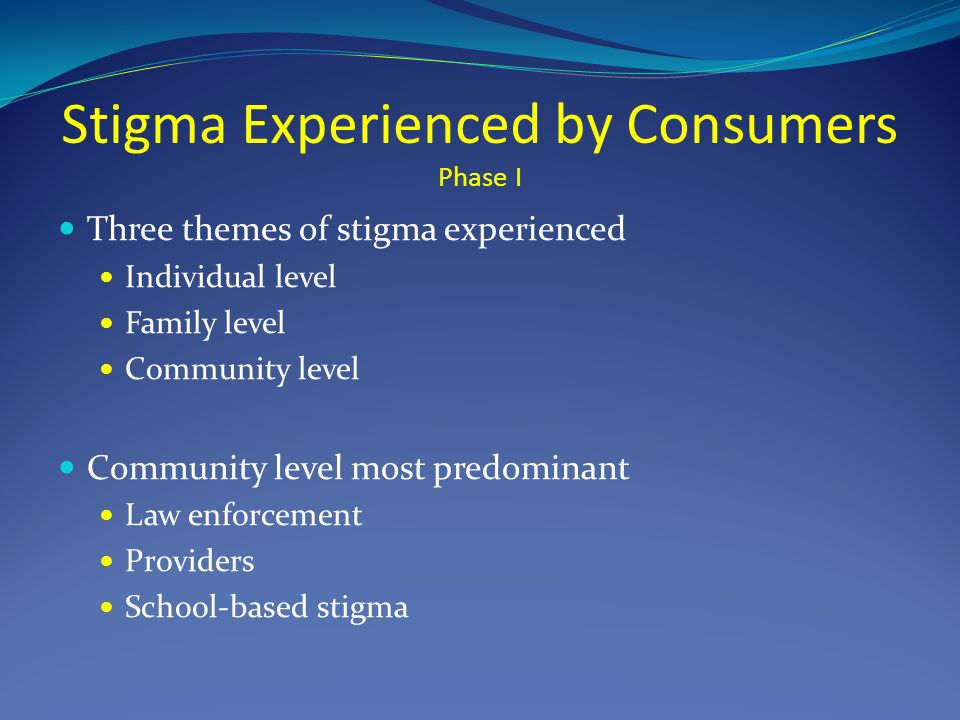 Stigma Experienced by Consumers Phase I Three themes of stigma experienced Individual level Family level Community level Community level most predominant Law enforcement Providers School-based stigma