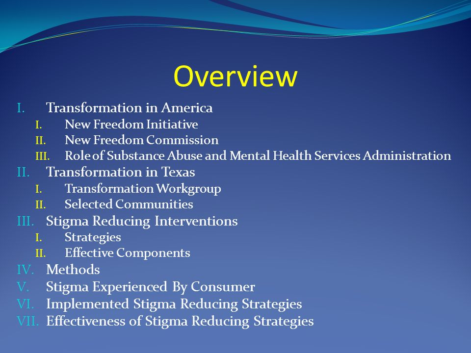 Overview I. Transformation in America I. New Freedom Initiative II.