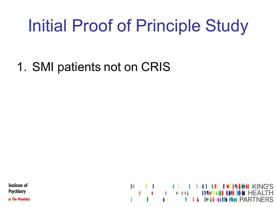 Initial Proof of Principle Study 1.SMI patients not on CRIS