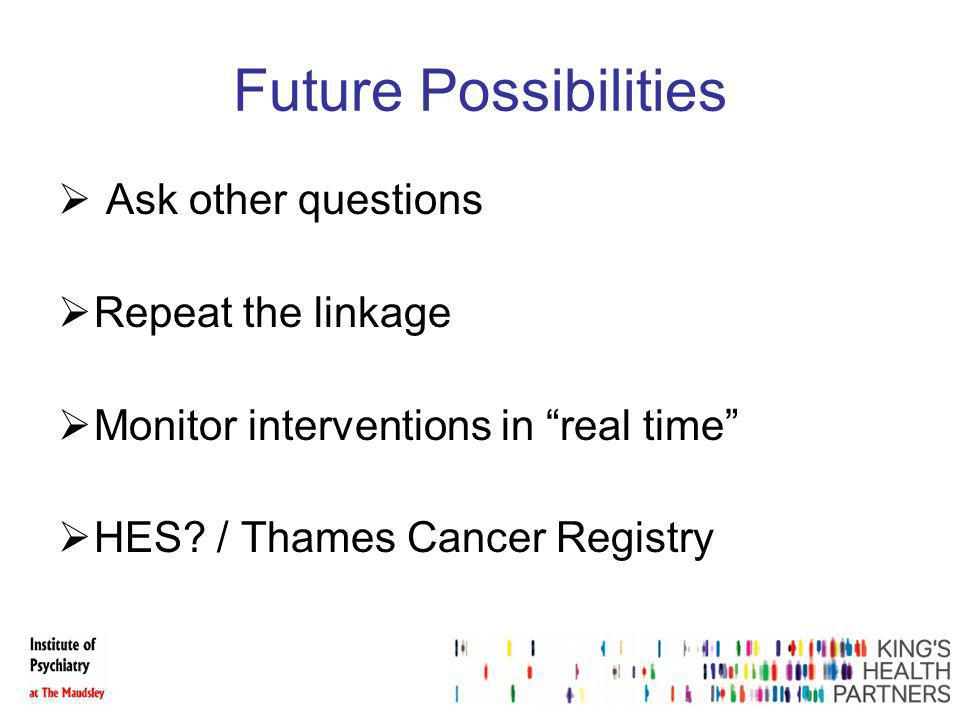 Future Possibilities Ask other questions Repeat the linkage Monitor interventions in real time HES.