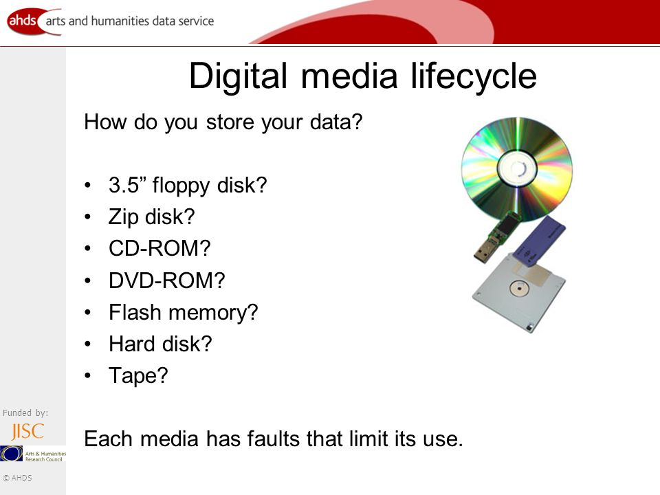 Funded by: © AHDS Digital media lifecycle How do you store your data.