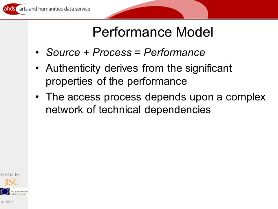 Funded by: © AHDS Performance Model Source + Process = Performance Authenticity derives from the significant properties of the performance The access process depends upon a complex network of technical dependencies