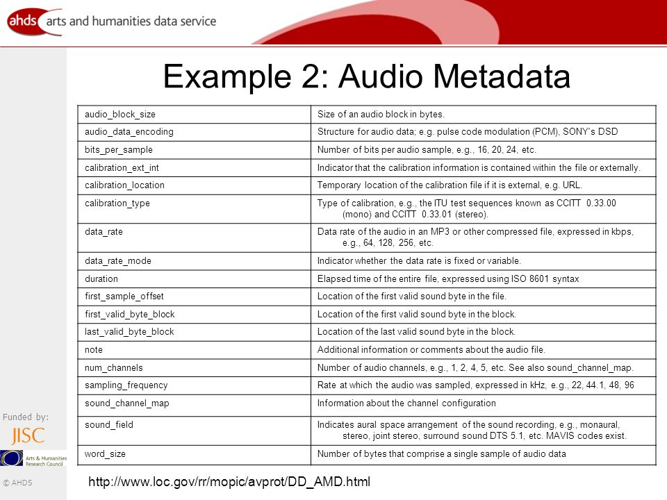 Funded by: © AHDS Example 2: Audio Metadata audio_block_sizeSize of an audio block in bytes.