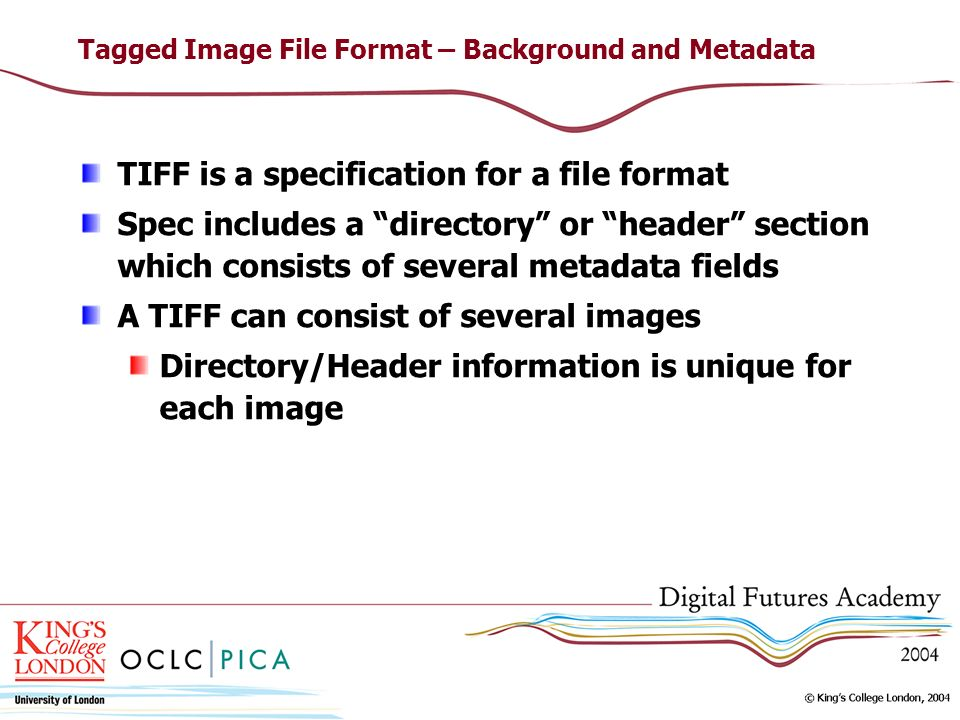 Tagged Image File Format – Background and Metadata TIFF is a specification for a file format Spec includes a directory or header section which consists of several metadata fields A TIFF can consist of several images Directory/Header information is unique for each image