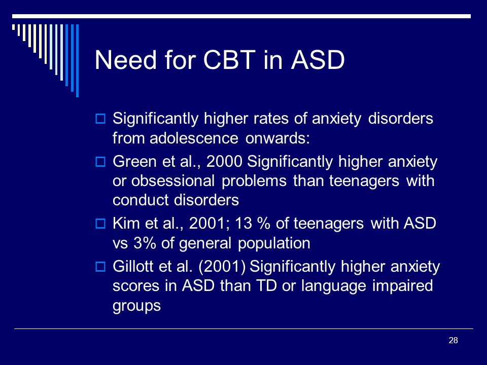 28 Need for CBT in ASD Significantly higher rates of anxiety disorders from adolescence onwards: Green et al., 2000 Significantly higher anxiety or obsessional problems than teenagers with conduct disorders Kim et al., 2001; 13 % of teenagers with ASD vs 3% of general population Gillott et al.
