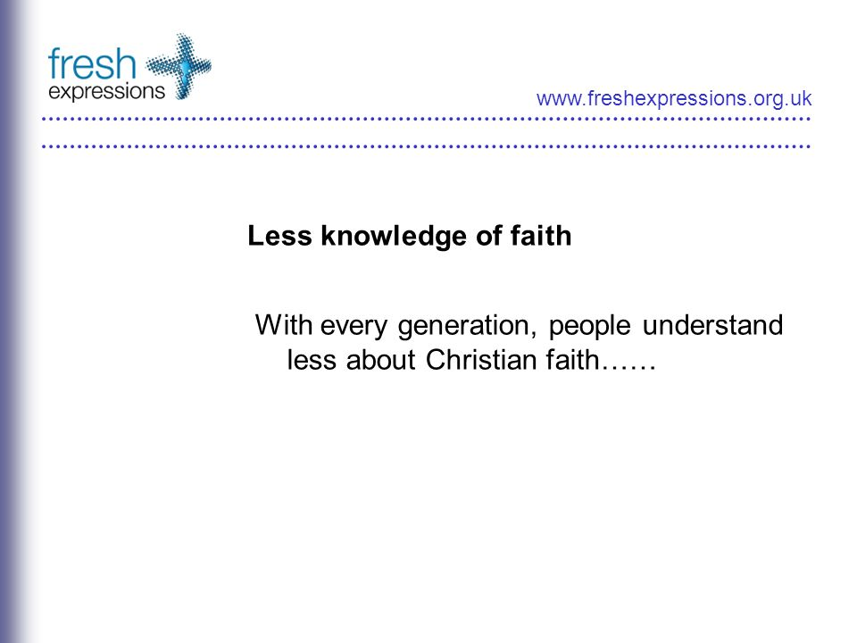 www.freshexpressions.org.uk Less knowledge of faith With every generation, people understand less about Christian faith……