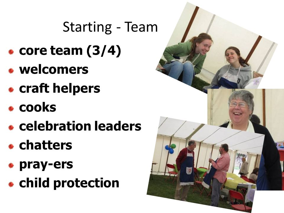 Starting - Team core team (3/4) welcomers craft helpers cooks celebration leaders chatters pray-ers child protection