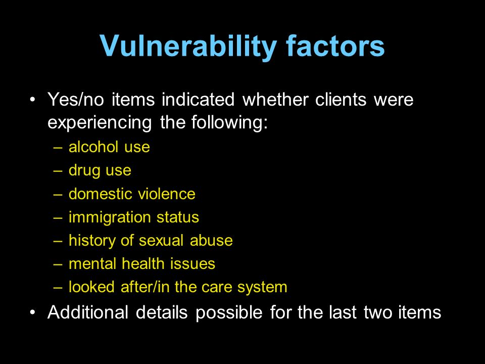 Vulnerability factors Yes/no items indicated whether clients were experiencing the following: –alcohol use –drug use –domestic violence –immigration status –history of sexual abuse –mental health issues –looked after/in the care system Additional details possible for the last two items