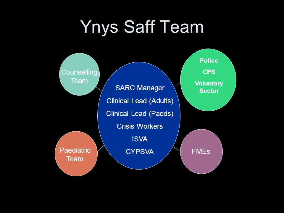 Ynys Saff Team SARC Manager Clinical Lead (Adults) Clinical Lead (Paeds) Crisis Workers ISVA CYPSVA Police CPS Voluntary Sector FMEs Paediatric Team Counselling Team