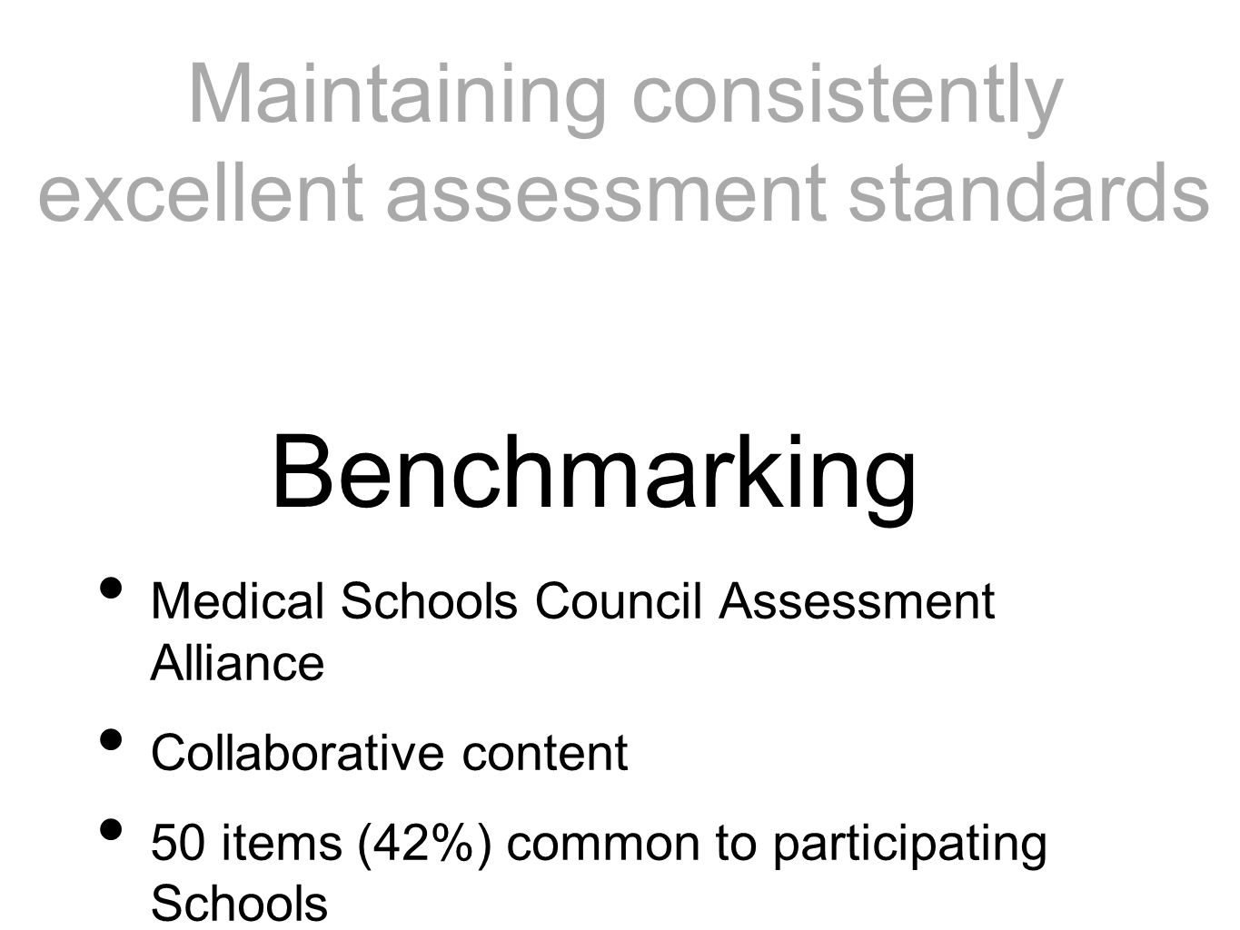 Medical Schools Council Assessment Alliance Collaborative content 50 items (42%) common to participating Schools Benchmarking