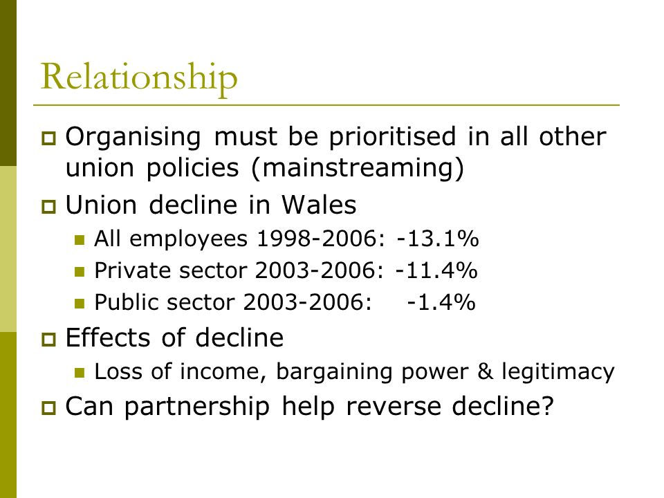 Relationship Organising must be prioritised in all other union policies (mainstreaming) Union decline in Wales All employees 1998-2006: -13.1% Private sector 2003-2006: -11.4% Public sector 2003-2006: -1.4% Effects of decline Loss of income, bargaining power & legitimacy Can partnership help reverse decline