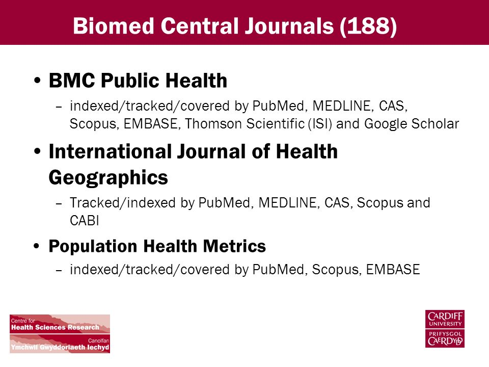 Biomed Central Journals (188) BMC Public Health –indexed/tracked/covered by PubMed, MEDLINE, CAS, Scopus, EMBASE, Thomson Scientific (ISI) and Google Scholar International Journal of Health Geographics –Tracked/indexed by PubMed, MEDLINE, CAS, Scopus and CABI Population Health Metrics –indexed/tracked/covered by PubMed, Scopus, EMBASE