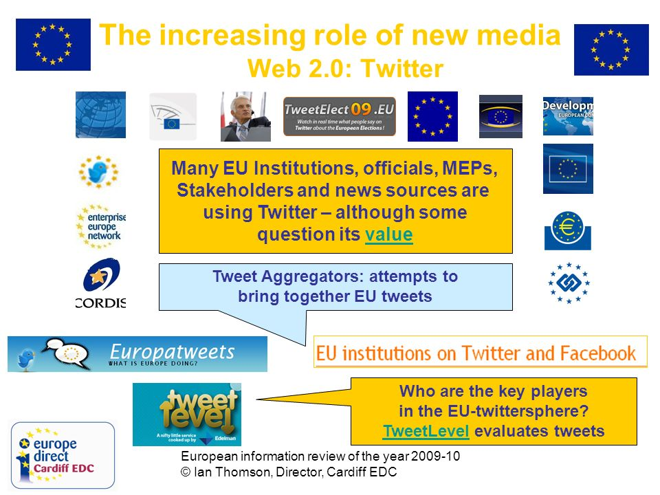 European information review of the year 2009-10 © Ian Thomson, Director, Cardiff EDC The increasing role of new media Web 2.0: Twitter Tweet Aggregators: attempts to bring together EU tweets Who are the key players in the EU-twittersphere.
