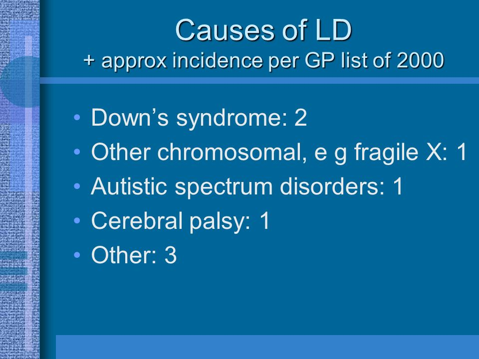 Causes of LD + approx incidence per GP list of 2000 Downs syndrome: 2 Other chromosomal, e g fragile X: 1 Autistic spectrum disorders: 1 Cerebral palsy: 1 Other: 3