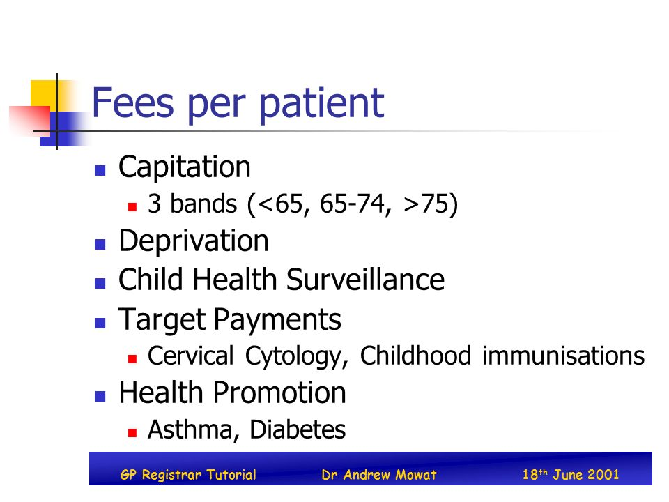 GP Registrar TutorialDr Andrew Mowat18 th June 2001 Fees per patient Capitation 3 bands ( 75) Deprivation Child Health Surveillance Target Payments Cervical Cytology, Childhood immunisations Health Promotion Asthma, Diabetes