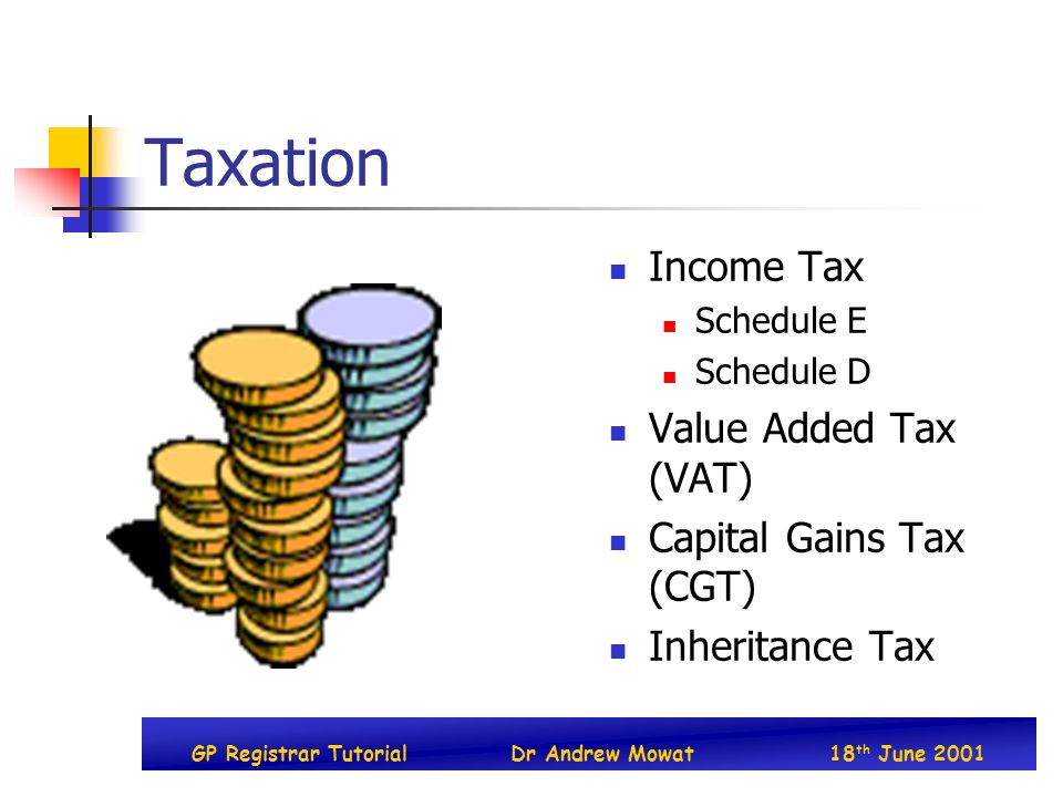 GP Registrar TutorialDr Andrew Mowat18 th June 2001 Taxation Income Tax Schedule E Schedule D Value Added Tax (VAT) Capital Gains Tax (CGT) Inheritance Tax