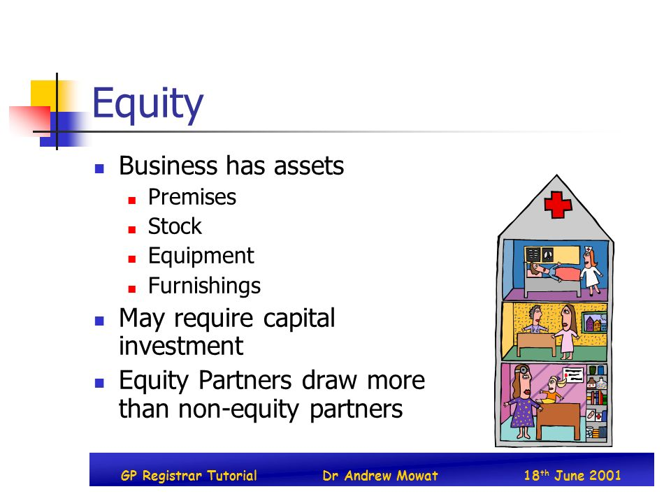 GP Registrar TutorialDr Andrew Mowat18 th June 2001 Equity Business has assets Premises Stock Equipment Furnishings May require capital investment Equity Partners draw more than non-equity partners